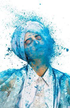 "fantastic color splash ""color me crazy"" by Sarah St. Clair Renard for Holi article in Yen mag; makeup Devin Joplin (via TrendLand. Holi Pictures, Holi Images, Party Pictures, Color Photography, Portrait Photography, Shutter Photography, Conceptual Photography, Pantone, Holi Festival Of Colours"