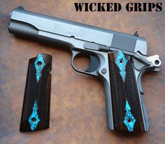 ALL NEW WICKED GRIPS WOOD GEM SERIES! SPECIAL GEM INLAY! TURQUOISE IN EBONY! MAGWELL AMBI