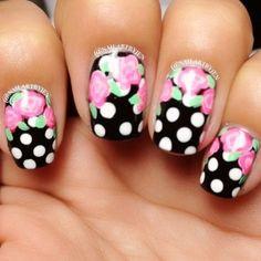 Floral Polka Dot Nails fashion nail pretty nail art nail ideas nail designs manicures