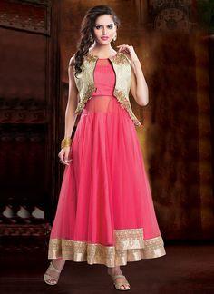 Nice Pink Net Ankle Length #Anarkali