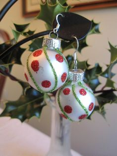 Christmas Earrings White Christmas Bulb Earrings by SmithNJewels, $13.00