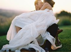 inspiration | romantic sunset photo of bride + groom | via: once wed