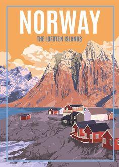Norway Lofoten Islands – Vintage Travel Poster - Just Lofoten, Tourism Poster, Poster S, Posters Decor, Places To Travel, Travel Destinations, Photo Vintage, Norway Travel, Voyage Europe