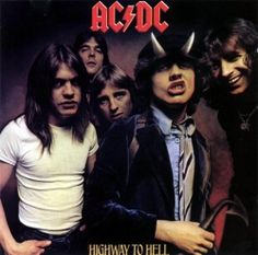 "AC/DC, 'Highway To Hell' It has the one thing 'Back In Black' doesn't have: Bon Scott on vocals. Fact: Bon Scott died shortly after recording this album: his final words on the record are ""shazbot, nanoo, nanoo. Iconic Album Covers, Rock Album Covers, Classic Album Covers, Bon Scott, Angus Young, Rock And Roll, Pop Rock, Ac Dc, Brian Johnson"