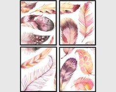 set of 4 prints, nursery decor, wall art, printable art, feather art, feathers prints, art print set, home decor, instant download by AdornMyWall on Etsy