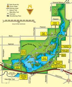Kensington Metro Park - Michigan  I used to rollar blade the 8 mile paved loop all the time!  I have gone canoeing and kayaking here as well.