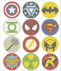 Superheroes Marvel logos comic characters Cross Stitch Pattern - pdf pattern instant down Perler Beads, Perler Bead Art, Fuse Beads, Marvel Logo, Cross Stitching, Cross Stitch Embroidery, Hand Embroidery, Cross Stitch Designs, Cross Stitch Patterns