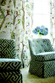 Love the chairs fabric and overall style of the room