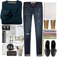 The Publications of Life by cejaysareia on Polyvore featuring moda, Abercrombie & Fitch, H&M, Theory, Caran D'Ache, ESSEY, Dixon Ticonderoga, Urbanears, Guide London and CASSETTE
