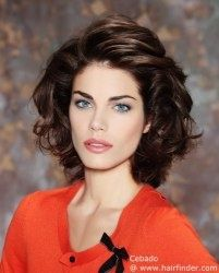 dyt type 4 hair | Medium hairstyle with curls. The hair is brushed towards the back and ...