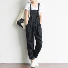 Women Vintage Retro Jumpsuit Casual Loose Cotton Linen Overalls Plus Size Drawstring Harem Pants Literature and Art Mori Girl