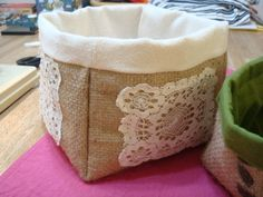 burlap box @Veronica Filips... another example of why I need to know how to sew. this is great (without the lace though)!