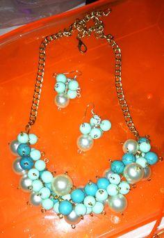 Perlas/cadena/verde-blue