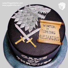 Game of Thrones Cake_Stark Cake_Stark House Sigil_Swords_Scroll_Geek_Geeky_Black_Silver_Winter is Coming_Direwolf
