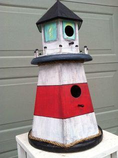 Tall Rustic Lighthouse Birdhouse Yard Decor by TuckersMercantile, $69.95
