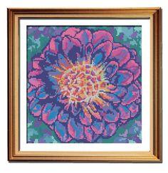 Pink Marbled Dahlia flower cross stitch pattern framed