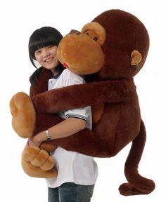 ba7bdc732f0 Giant huge large big stuffed animal soft plush brown monkey bear doll plush  toy