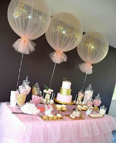 Baby Shower Decorations Balloons wrapped in tulle for party decor Deco Baby Shower, Shower Party, Baby Shower Games, Baby Shower Parties, Baby Shower Table Set Up, Balloons For Baby Shower, Shower Cake, Shower Favors, Babby Shower Ideas