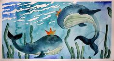 My whales based on pic i found here :) watercolor, fabriano rosaspina and white nights :)