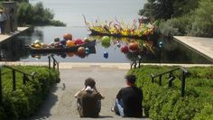Father and son looking at these two Sculptures, The Float Boat and Carnival Boat. <3 <3