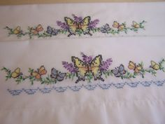 Pretty Hand Embroidered Pillowcases Butterflies by DebbiesBusyBee, $25.00