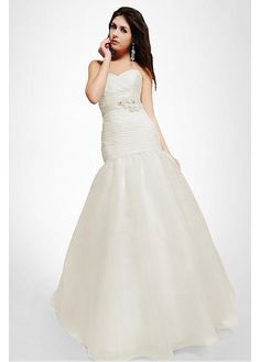 MODERN ORGANZA SATIN A-LINE STRAPLESS SWEETHEART DROP WAIST BEADED WEDDING GOWN LACE DRESS PROM