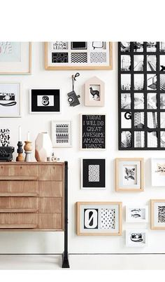 Wall collage - black, natural, and white