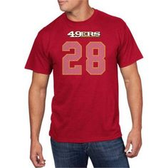 NFL Big Men's San Francisco 49Ers C Hyde 28 Player Tee, Size: 3XL, Red