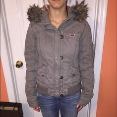 "Hollister coat with hood Hollister coat with hood. Everything is in tact. Good condition.. Says a medium but fits a small perfect. I'm 5""4 and weigh 115.. Fits me perfect. Any questions ask.. No trades :) Hollister Jackets & Coats"