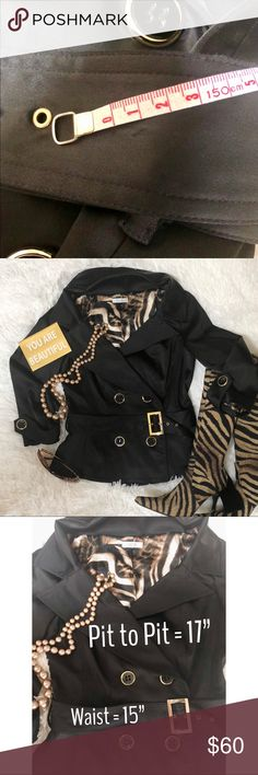 Gorgeous Black Cashé Jacket Looks new, fully lined with gold trim on buttons and belt with a slight peplum waist and 3/4 sleeves. I'm an 8-10 and it fits me but I can not button it. So I would say it's a size 6. Send me an offer. This is too gorgeous to just be sitting in my closet. Cashé Jackets & Coats Blazers