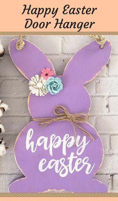 Cute door hanger for Easter   handmade wooden Easter bunny   Easter door hanger   #Easterdoorhanger #Easterbunny #doorhanger #rusticdoorhanger #doordecor affiliate
