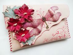 Red dragonfly clutch Red flowers leather purse by spiculdegrau