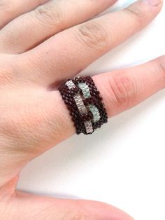 Woven Bead Ring  Flat Peyote Stitch  $16