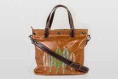 Embroidered handbag, brown leather bag, Percibal bags, everyday leather crossbody bag, caramel brown bag, one of a kind leather bag