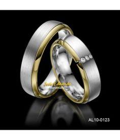 Par de aliançad de casamento ouro branco fosco, amarelo polido AL10-0123