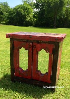 Rustic Handmade Mirror Front Side Table in Red www.gugonline.com