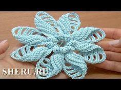 Crochet Folded Petal Flower Pattern Урок 57 Часть 1 из 2 Вязаный цветок ...