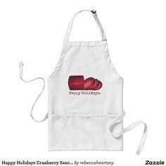 Happy Holidays Cranberry Sauce Christmas Apron