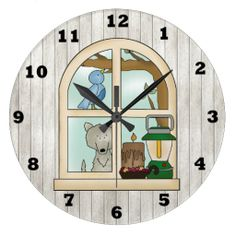 Country Cabin window wall clock