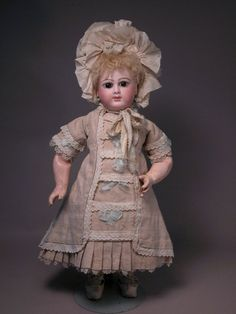 French Bebe, possibly Mothereau? Factory linen Bebe dress and bonnet.