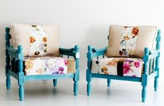 great inspiration for restyling two identical thrifted chairs