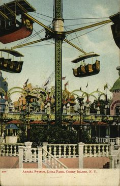 Aerial Swings, Luna Park, Coney Island, N. Coney Island Amusement Park, Amusement Parks, Brooklyn City, School Fun, Swings, Postcards, Columbia, Steampunk, Carnival