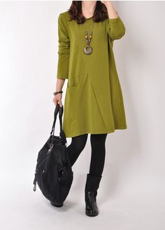 Casual Long Sleeve T-shirt for Autumn and Spring - Green