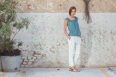 Tika Top Cotton Voile, Sea. Boyfriend Pants Tapestry Print, Off. White. Ebe Sandals, Grey.