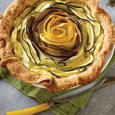 Get ready to impress with a simple technique of slicing the vegetables thinly and rolling into a spiral that's placed onto the Ricotta filling - easy as pie! Olive Oil Butter, Ricotta Pie, Summer Savory, Garlic Paste, How To Make Cheese, Entree Recipes, Roasting Pan, Serving Plates, Garam Masala