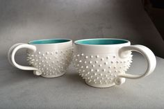 Spiky Mugs Made To Order Pair of White and by symmetricalpottery