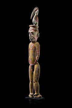 Big male ancestor figure Papua New Guinea - Wosera 53.5 inches