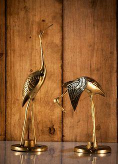 Set of 2 Vintage Brass Standing Heron Crane Bird Figurines Brass Diyas, Stork Bird, Japanese Crane, Crane Bird, Bird Statues, Vintage Boutique, Eccentric, Heron, Home Accessories