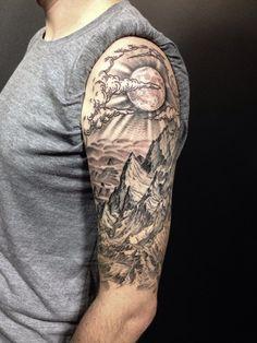 A badass view for an impressive half sleeve by Daniel Bones.