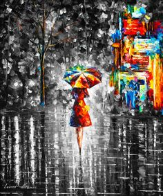 Rain Princess 3 - Original Limited Edition Oil Painting On Canvas By Leonid Afremov - Size x Oil Painting On Canvas, Rain Painting, Knife Painting, Painting Inspiration, Female Art, Amazing Art, Original Paintings, Famous Artists Paintings, Oil Paintings